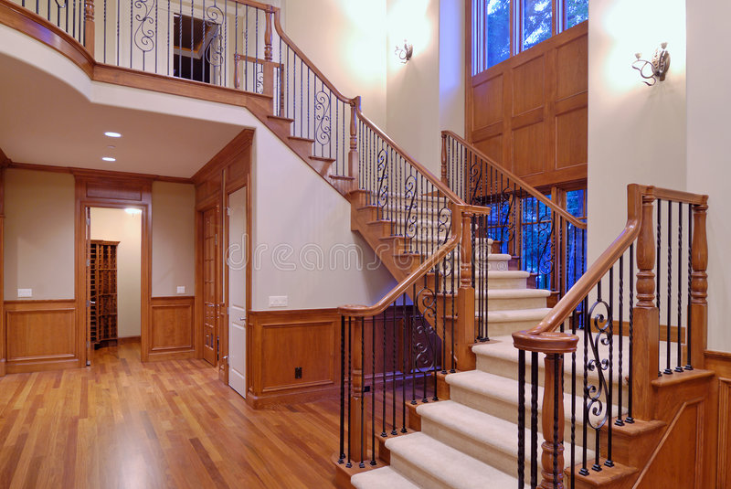Grand Staircase. In a luxury american home stock photo