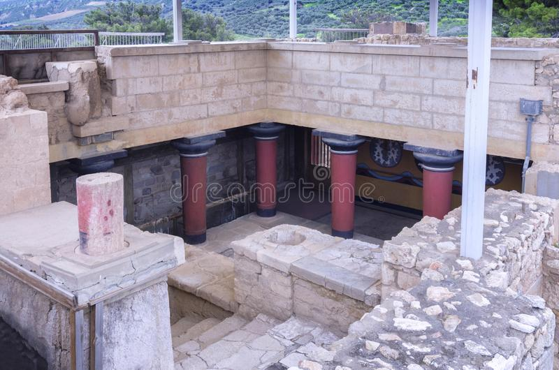 The Grand Staircase is leading to the royal apartments. It is in the east wing of the Knossos Palace. Knossos Palace, Crete / Greece - March 14, 2019: The Grand royalty free stock photo