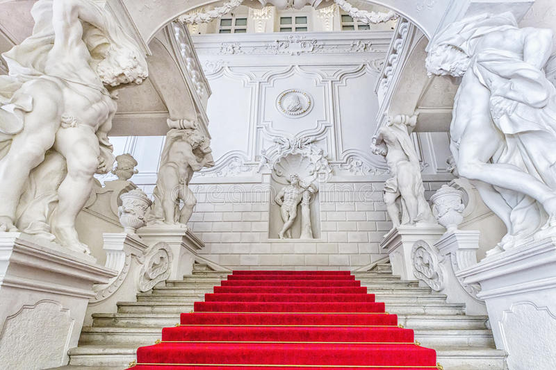 Grand staircase of Winter Palace of Prince Eugene Savoy in Vien. VIENNA, AUSTRIA - JUNE 25, 2016: Grand staircase of Winter Palace (Stadtpalais) of Prince Eugene stock image