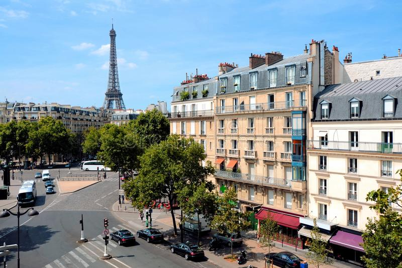 Grand streets of Paris, France with Eiffel Tower royalty free stock photography