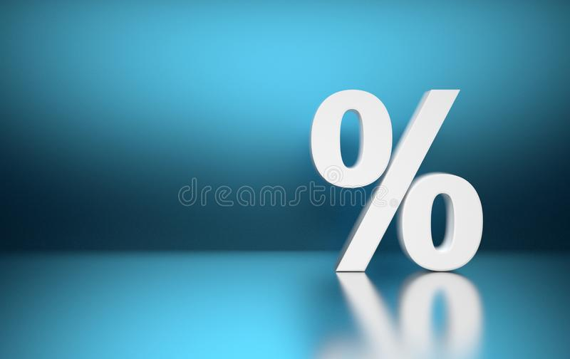 Grand symbole blanc de signe de pourcentage de pour cent illustration de vecteur