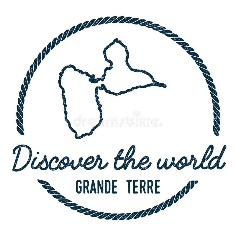 Grand-Terre contour de carte Le vintage découvrent illustration de vecteur