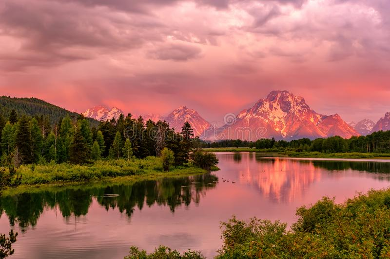 Mountains in Grand Teton National Park at sunrise. Oxbow Bend on the Snake River. royalty free stock photo