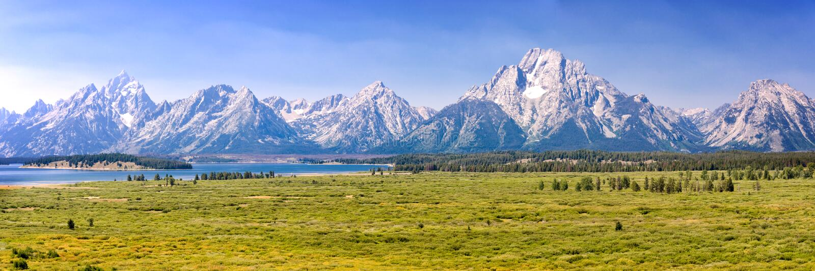 Grand Teton national park, mountain range panorama, Wyoming USA royalty free stock images