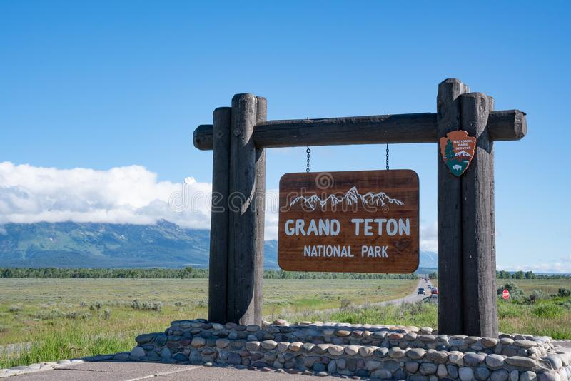 Grand Teton National Park Welcome Sign royalty free stock photography