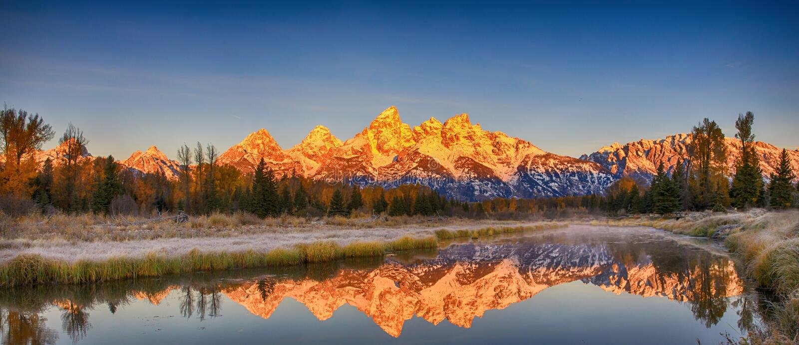 Grand Teton Range Reflection, Wyoming, America royalty free stock images