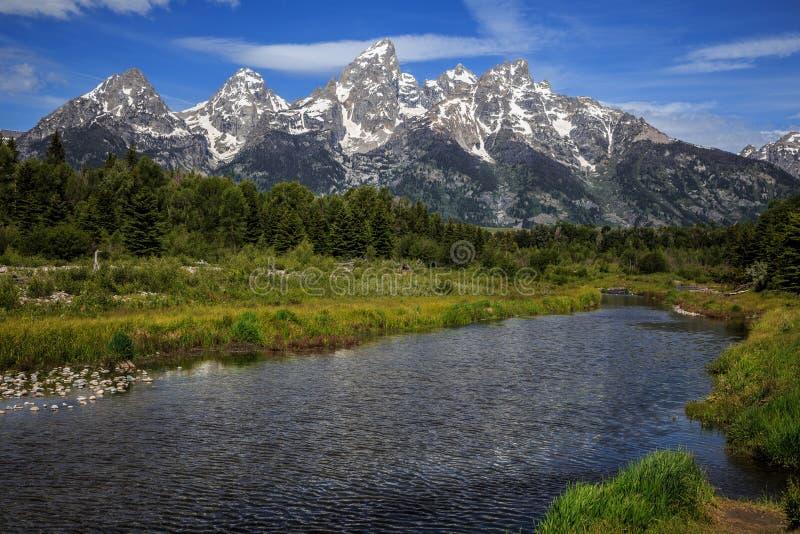 Grand Teton Range from Schwabacher Landing royalty free stock image