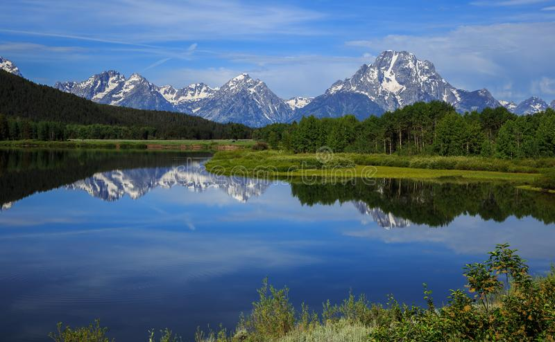 Grand Teton Reflections from Oxbow Bend royalty free stock photo