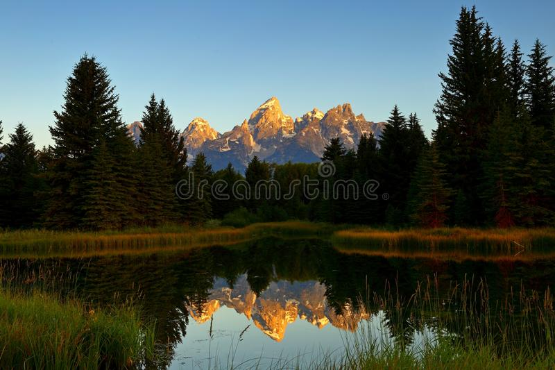 The Grand Teton sunrise reflection at Schwabacher`s Landing in Grand Teton National Park royalty free stock image