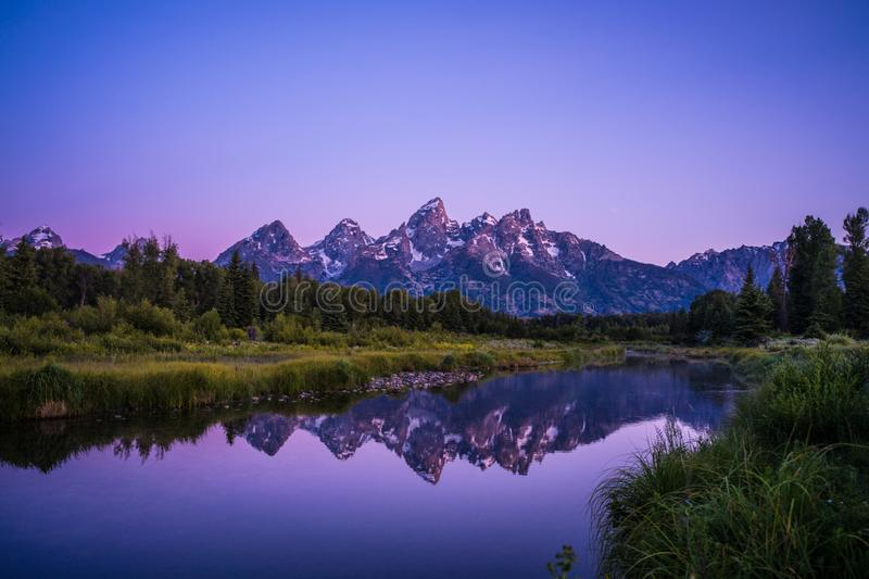 Grand Teton at sunrise stock photography