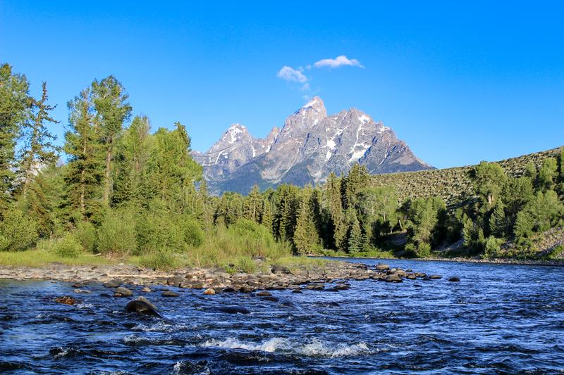 Grand teton view from snake river stock photography