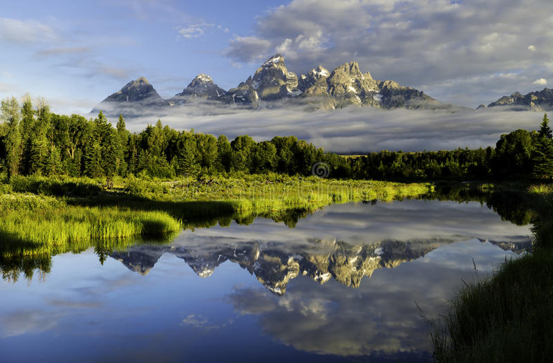 The Grand Tetons Mountains in Wyoming. The Grand Tetons in Grand Teton National Park, Wyoming stock image