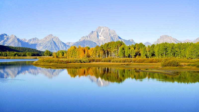 Grand Tetons from Oxbow Bend stock images