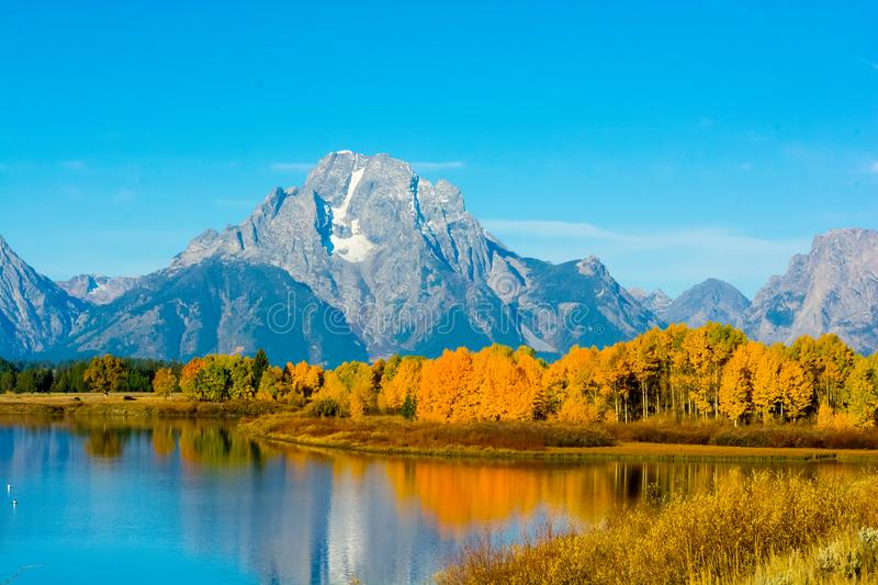 Grand Tetons from Oxbow Bend, Wy royalty free stock image