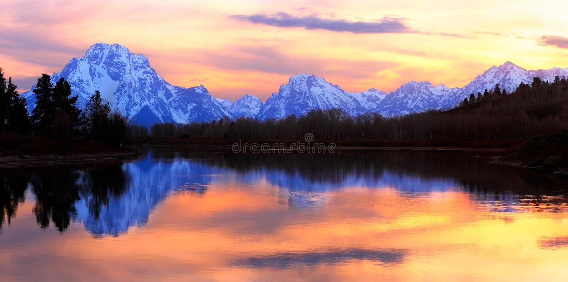grand tetons panorama sunset fotografia stock