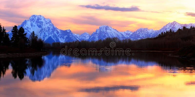 Grand Tetons Sunset Panorama stock photography