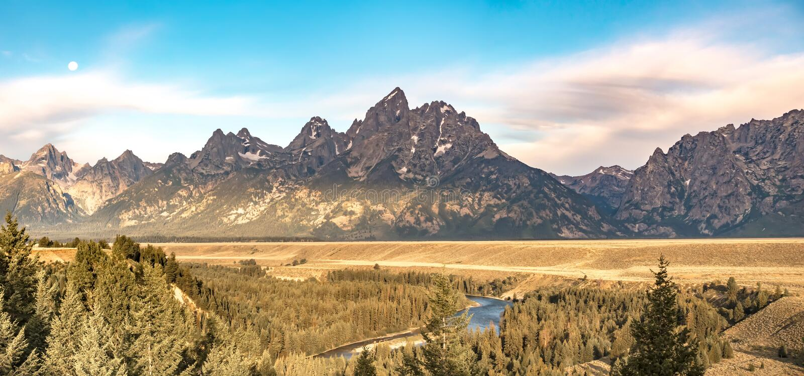 Grand tetons view from snake river overlook stock photo