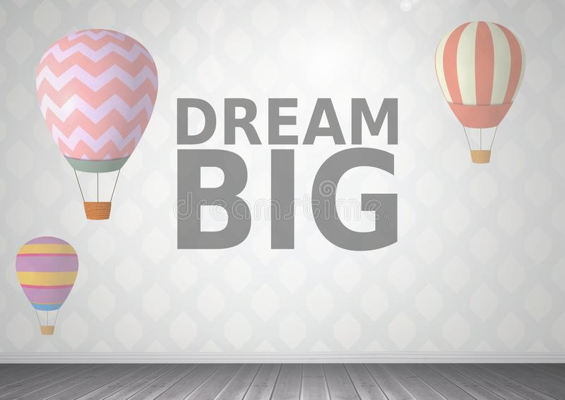 Grand texte rêveur et ballons à air chauds dans la chambre illustration libre de droits