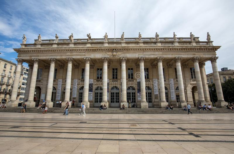 He Grand Theatre of Bordeaux. It was conceived as a temple of the Arts and Light, with a neo-classical facade. Gironde department, royalty free stock photography