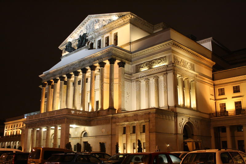 Grand Theatre in Warsaw (Poland) by night. Grand Theatre – National Opera in Warsaw (Poland) by night. A neoclassical opera house inaugurated in 1833 stock image