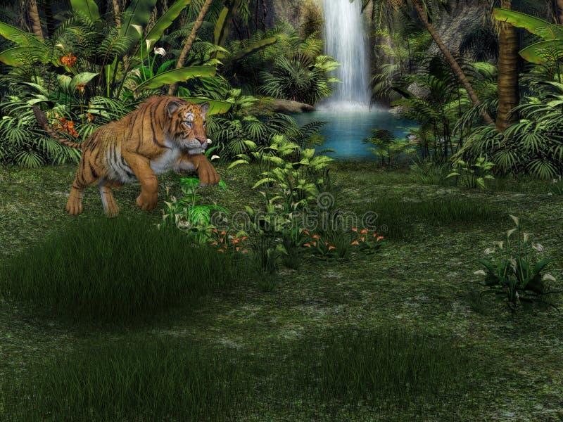 grand tigre du rendu 3d sur la chasse illustration de vecteur