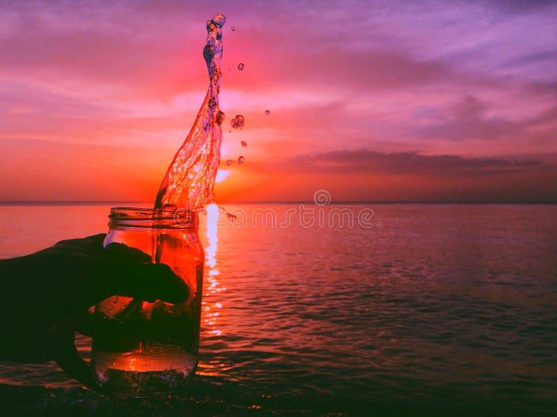 Grand tir de coucher du soleil photo stock