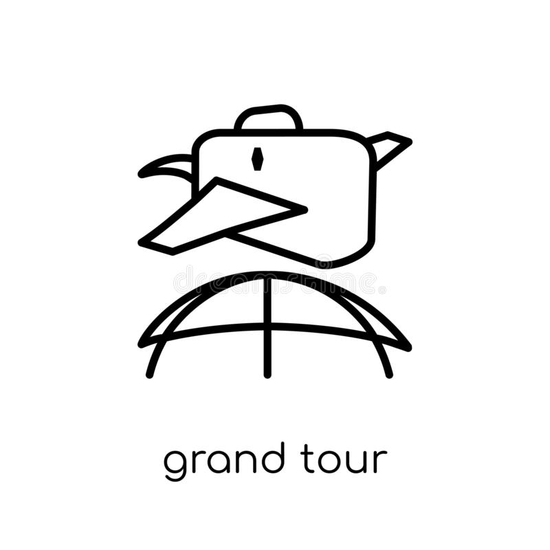 grand tour icon. Trendy modern flat linear vector grand tour icon on white background from thin line Architecture and Travel coll royalty free illustration