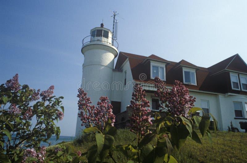 Grand Traverse Lighthouse inside the Leelanau State Park, Northport, MI royalty free stock photo