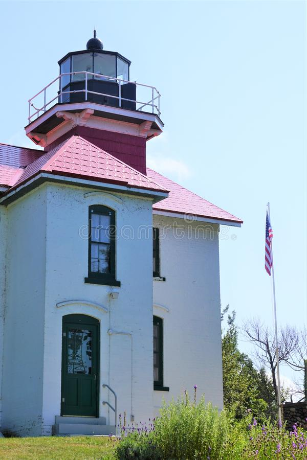 Grand Traverse Lighthouse Northport Michigan August 2019 stock images