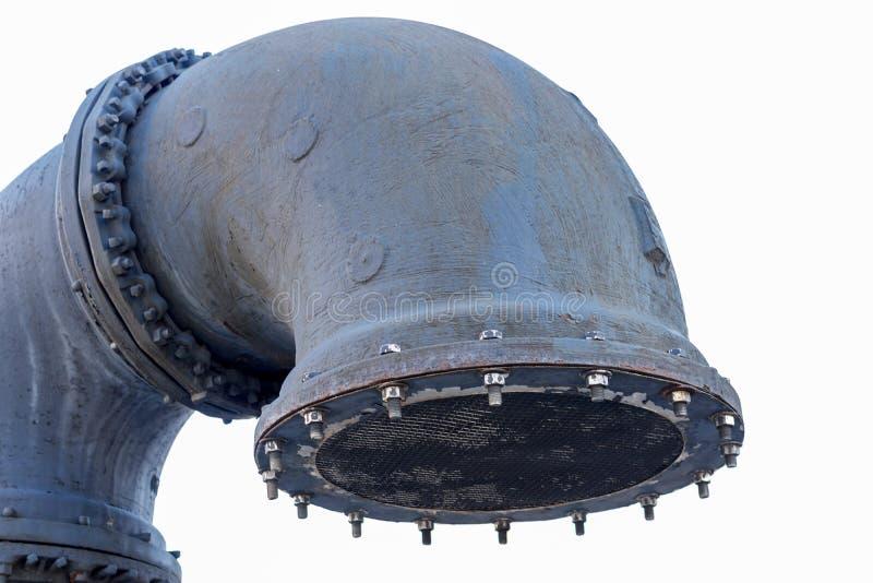 Grand tuyau gris en métal, d'isolement image stock