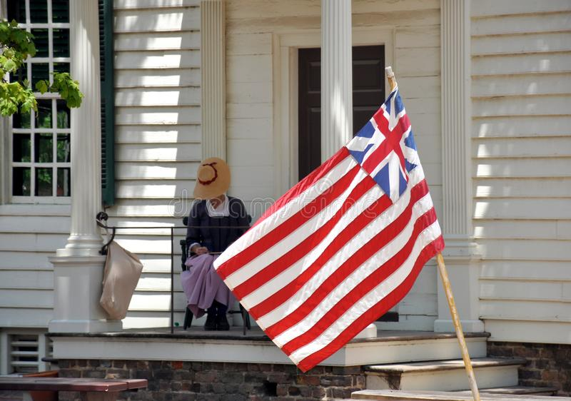Grand Union Flag in Colonial Williamsburg, VA stock photos