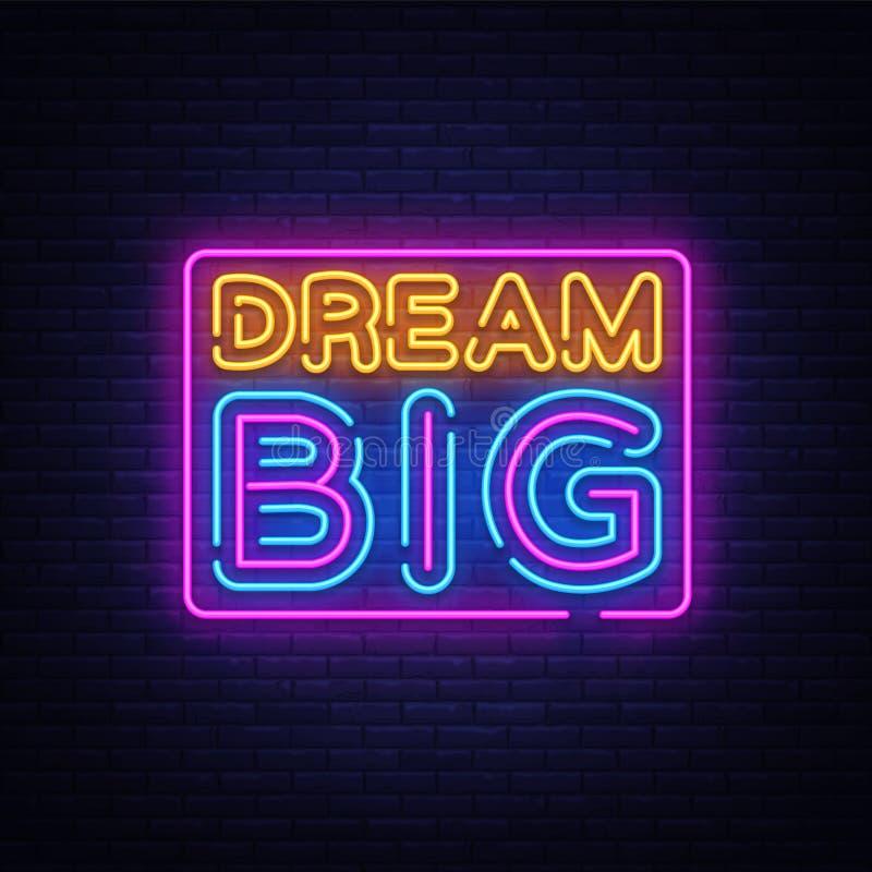Grand vecteur au néon rêveur des textes Grand enseigne au néon rêveur, calibre de conception, conception moderne de tendance, ens illustration libre de droits