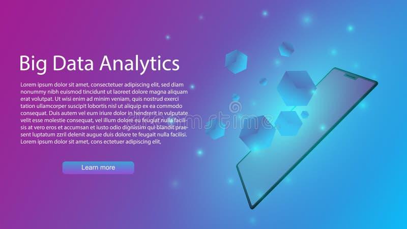Grand vecteur d'analytics de données infographic, AI ou intelligence artificielle dans le smartphone, transfert des données de vi illustration de vecteur