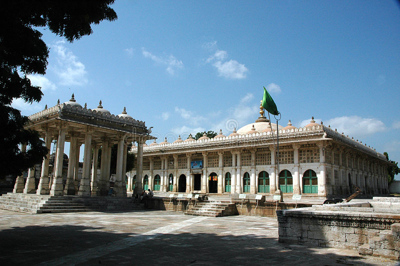 A grand view of Sarkhej Roja, Ahmedabad, India. HISTORICAL IMPORTANCE Sarkhej Roza comprises one of the most elegant and unique architectural complexes of stock photo