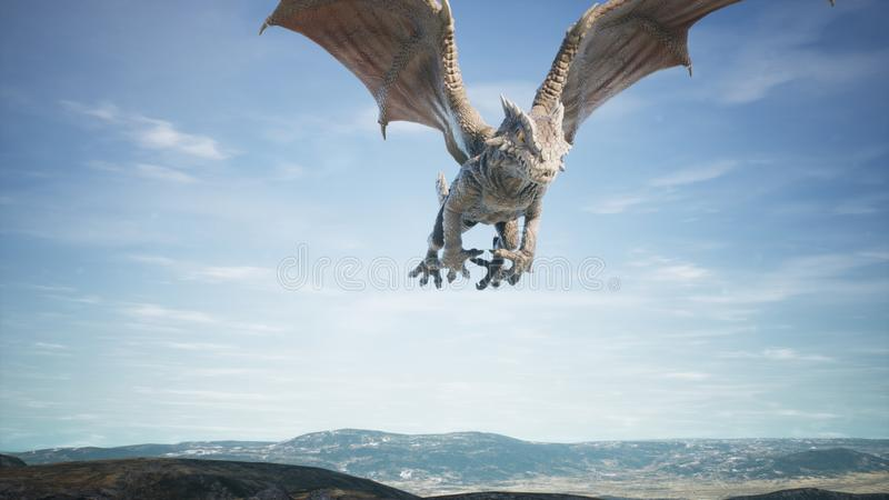 Grand vol de dragon au-dessus de désert rendu 3d images libres de droits