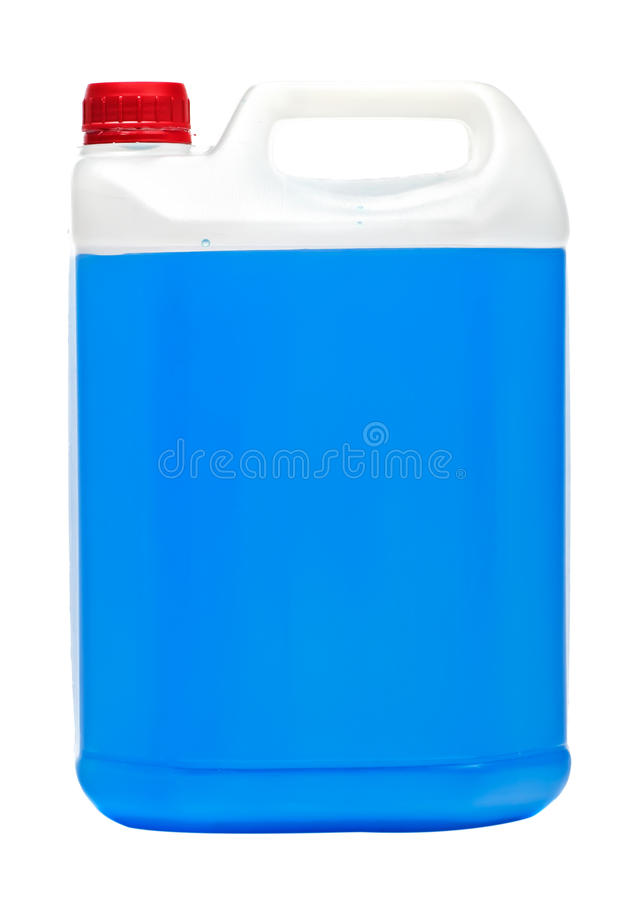 Grand volume rectangulaire avec le liquide bleu image stock