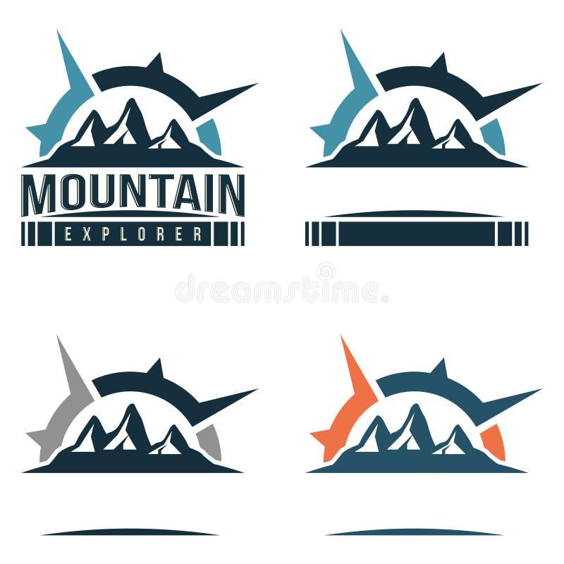 Grand voyage de montagne avec le signe Logo Template de boussole illustration stock