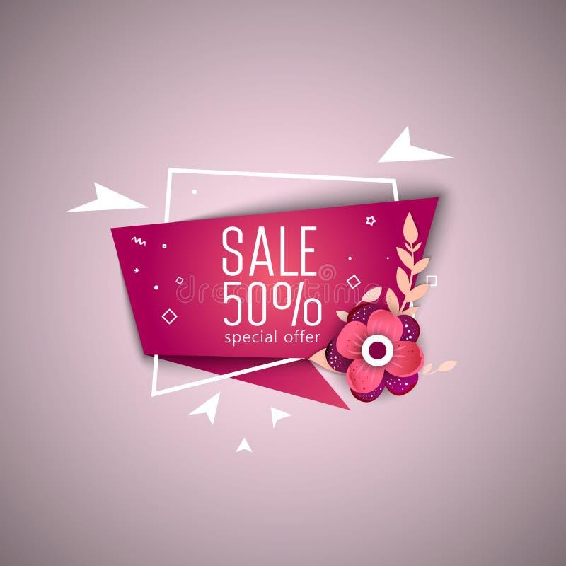 Grand week-end de vente, bannière d'offre spéciale jusqu'à 50  Illustration de vecteur illustration libre de droits