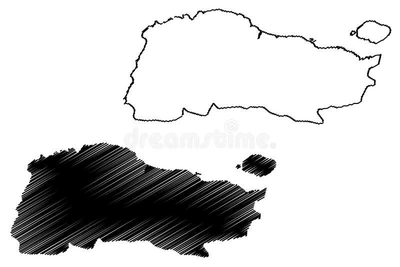 GrandAnse-Abteilung Republik von Haiti, Hayti, Hispaniola, Abteilungen der Haiti-Kartenvektorillustration, Gekritzelskizze großar vektor abbildung