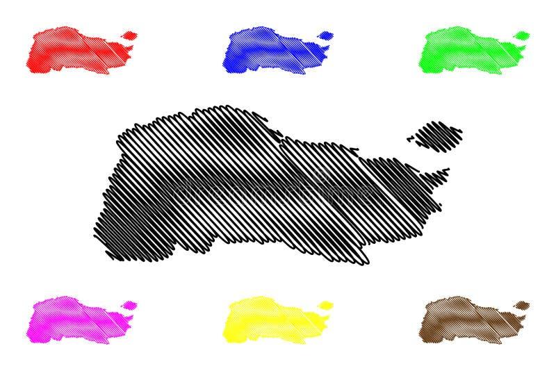 GrandAnse department Republic of Haiti, Hayti, Hispaniola, Departments of Haiti map vector illustration, scribble sketch Grand` stock illustration