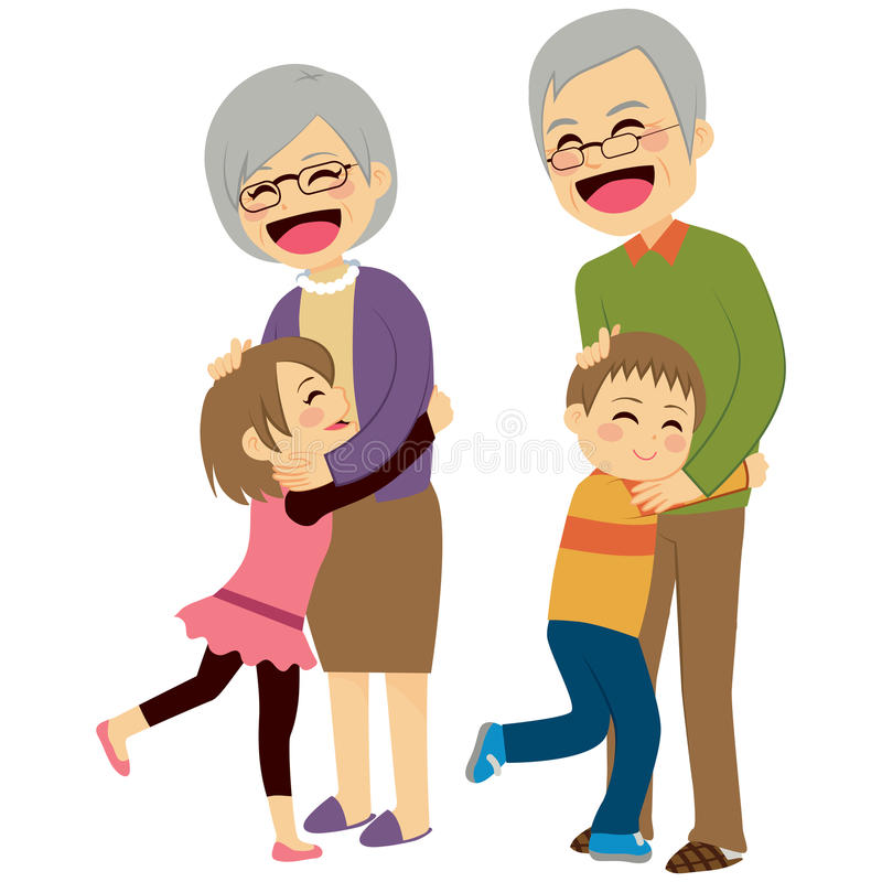 Grandchildren Hugging Grandparents. Cute happy little grandchildren hugging their grandparents stock illustration