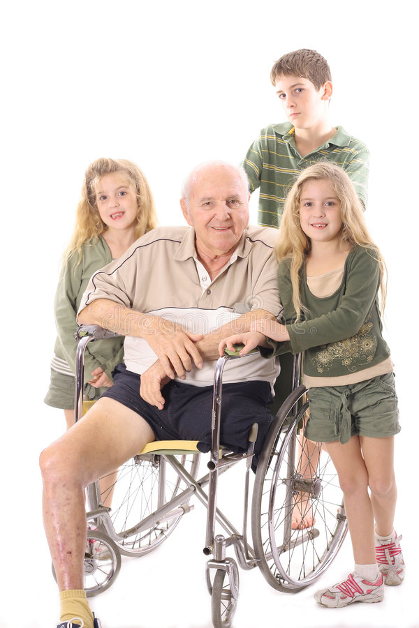 Free Grandchildren With Handicap Grandfather In Wheelch Stock Images - 3716294