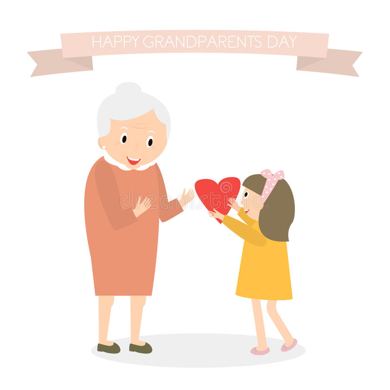 Granddaughter gives heart to grandmother. Happy grandparents day greeting background. Vector Illustration. vector illustration