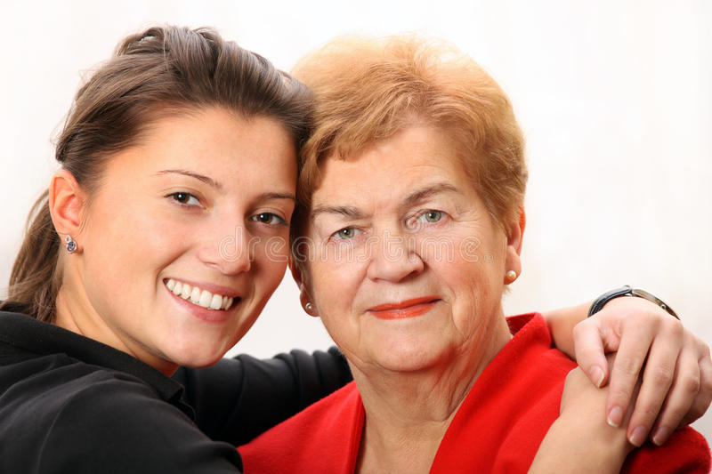 Granddaughter with her grandma royalty free stock photo