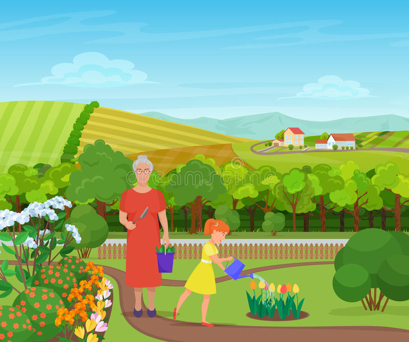 Granddaughter watering and taking care of flowers with grandmother in beautiful village in mountains. royalty free illustration