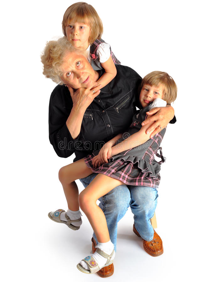 Granddaughters And Grandmother Stock Image