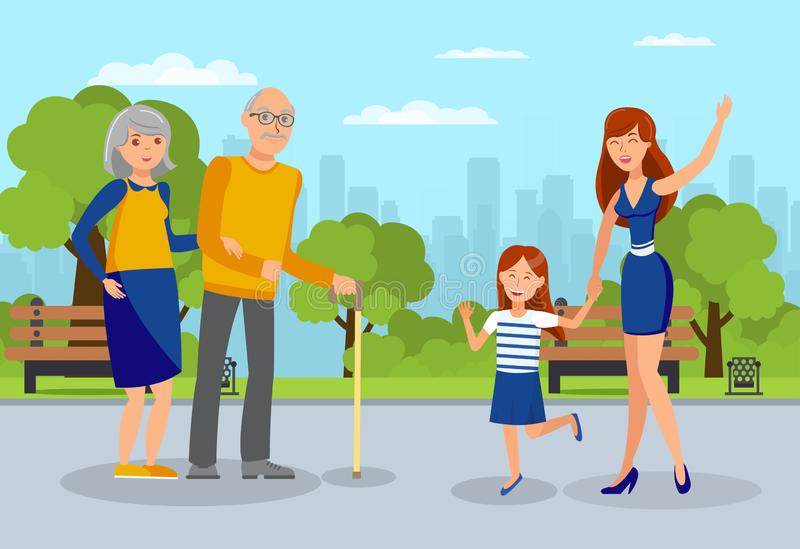 Granddaughters meet Grandparents Flat Illustration. Young Woman with Daughter Waving to Elderly Parents Cartoon Characters. Two Sisters and Senior Couple vector illustration
