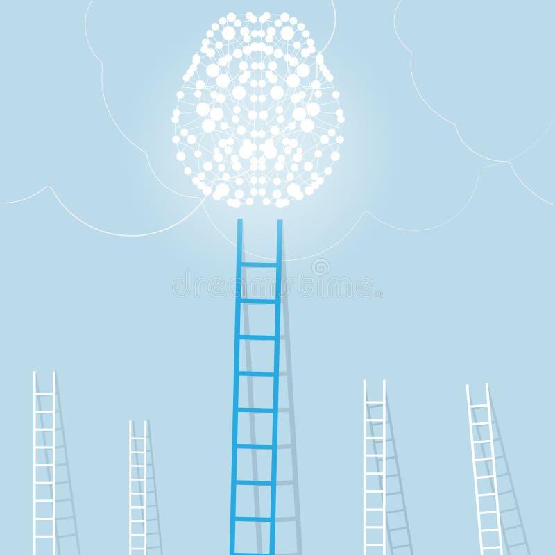 Download Grande échelle Bleue De Cerveau Léger Avec Le Petit Blanc Ceux Fond De Concept D'affaires D'arrangement De But Illustration Stock - Illustration du imagination, escaliers: 77152591