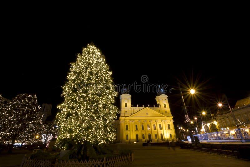 Grande église reformée de Debrecen au christmastime images libres de droits