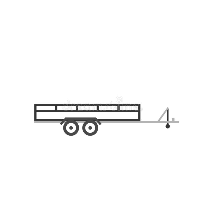 Grande ícone aberto do esboço do reboque do carro ilustração do vetor